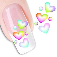 Ottery Colorful Heart Pattern Nail Tips Water Transfers Stickers Nail Art Decoration ** Continue to the product at the image link. Note:It is Affiliate Link to Amazon.