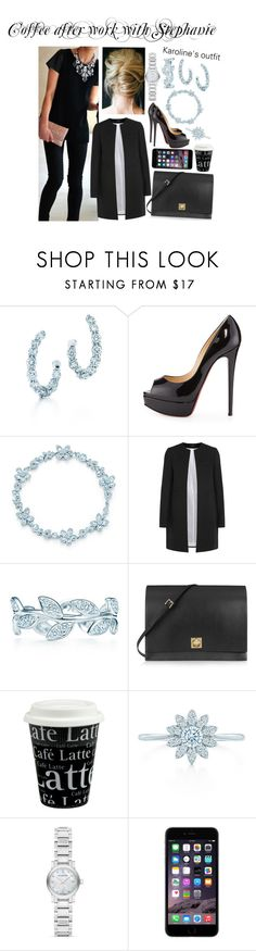 """Coffee after work with Stephanie"" by karolinebhn ❤ liked on Polyvore featuring Tiffany & Co., Christian Louboutin, Joseph, Paloma Picasso, Valentino, Könitz and Burberry"