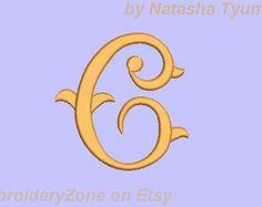 Monogram Letter C. Vintage Style Font  C. Embroidery design. Litera C. Hoop 4x4. Four size