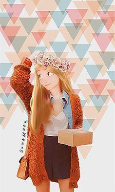 Illustrations de Raiponce en tenues modernes Punk Disney, Disney High, Disney Art, Disney Rapunzel, Rapunzel Edits, Hipster Rapunzel, Disney Princess Fashion, Disney Style, Disney Love