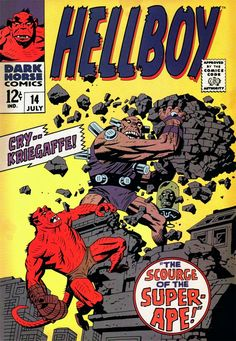 Mike Mignola, Comic book cover done Silver Age Marvel style (for a prop comic book used in the first Hellboy movie) Comic Book Artists, Comic Book Characters, Comic Artist, Comic Books Art, Mike Mignola Art, Hellboy Tattoo, Dark Horse Comics, Hellboy Movie, Hellboy 2004