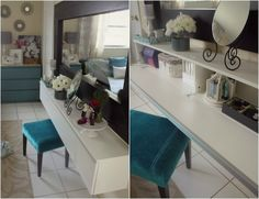If there's no room for a dressing table... BESTÅ BURS wall shelf turned into a makeup vanity - IKEA Hackers.