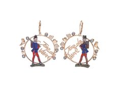 JDV earrings in pink gold, blue sapphires, blue topazes, rubies and antique toy soldiers (early 1900's) @francescavillajewelry - Joie De Vivre collection