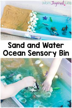 This sand and water ocean sensory bin is a fun way for kids to play and learn about the ocean habitat this summer! It's the perfect activity to celebrate the release of Finding Dory! ocean Sand and Water Ocean Sensory Bin Summer Activities, Toddler Activities, Preschool Activities, Water Activities, Activites For Preschoolers, Summer Themes For Preschool, Water Theme Preschool, Rainbow Fish Activities, School Age Activities
