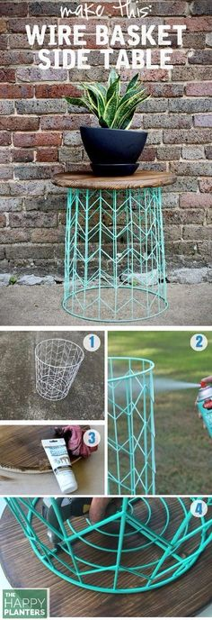 DIY OF THE WEEK : Side table from a wire basket - a 20 minute DIY Basket: Target (there are some of this Right now on the Sales Spot for $3) Ross has some cheap options as well. Spray Paint: Recommend Rust oleum or Valspar. Table Top: Just take the top of an old Stool or old table, I find some great options at the Thrift Store.