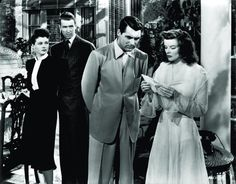 Still of Cary Grant, Katharine Hepburn, James Stewart and Ruth Hussey in The Philadelphia Story