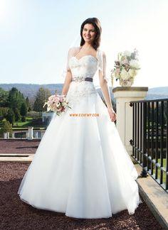 Hjärtformad Kristalldetalj Dragkedja Bröllopsklänningar 2014