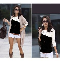 Korean Style Chic Round Neckline Diagonal Colormatching Long Sleeves Lycra Under Shirt For Women | NastyDress.com