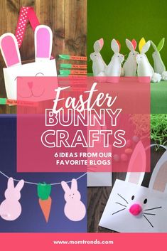 6 EASTER BUNNY CRAFTS IDEAS FOR KIDS Do you love bunnies? If you are the crafty type, we've rounded up a few favorite Easter crafts to keep the kids busy. All 6 of these crafts involve making a bunny. Bunny Crafts, Easter Crafts, Diy Crafts, Easter Ideas, Easter Banner, Easter Traditions, Easter Holidays, Business For Kids, Spring Crafts