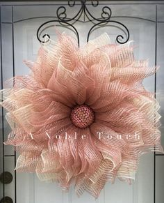 Rose Gold Flower Pattern by A Noble Touch, DIY, Instructional, Pattern Burlap Flower Wreaths, Gold Wreath, Deco Mesh Wreaths, Rose Gold Christmas Decorations, Christmas Wreaths To Make, How To Make Wreaths, Wreath Crafts, Diy Wreath, Mesh Wreath Tutorial