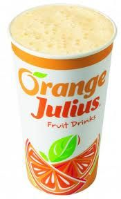"Skinny Orange Julius...Here's a skinny version of the ever popular mall favorite,""Orange Julius.""  I figured out the two secret ingredients in the Orange Julius, vanilla extract and milk! This skinny recipe has about half the calories, only one third the sugar of a regular Orange Julius and 3 Weight Watchers POINTS PLUS. So grab a straw and start skinny sipping!"