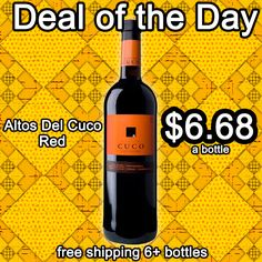 Altos Del Cuco Red -$6.68 a bottle. Free shipping on 6+ bottles. Bright ruby. Spicy red fruits on the nose and palate. Light-bodied and easygoing, with good finishing clarity and decent length. Very good value here; I'd serve it on the cool side. (40% monastrell, 30% syrah and 30% tempranillo)