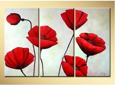 Free shipping handpainted 3 pieces red poppies flowers white background oil paintings canvas nice wall art decor #Affiliate