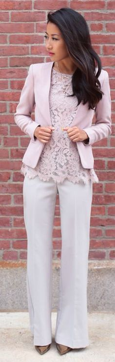Lilac Lace Top Office Style Fall Inspo by Extra Petite - what a beautiful lace top