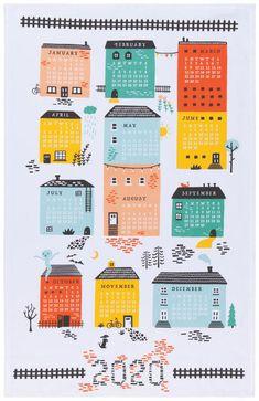 Now Designs 2020 Calendar Dishtowel — KitchenKapers Wall Calender, Free Printable Calendar, Printable Planner, Dish Towels, Tea Towels, Banners, Photo Editing Vsco, Free Planner, Calendar 2020