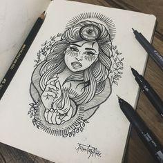 Mystic Lady. Desenho a lápis 6B e 9B pretos, canetas 0.4, 0.5 e 0.05 pretas e marcador permanente 2.0 preto sobre folha de papel.