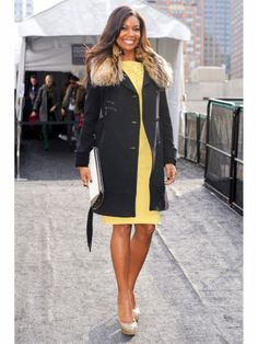 Laundry fur collar winter coat inspired by Gabrielle Union Celebrity Outfits, Celebrity Style, Fur Trim Coat, Fur Coats, Jumpsuit Images, Weekend Dresses, Fur Fashion, Winter Fashion, Inspirational Celebrities