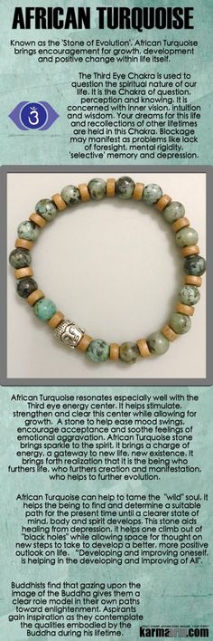 African Turquoise resonates especially well with the Third eye Chakra. It helps stimulate, strengthen and clear this center while allowing for growth. A stone to help ease mood swings, encourage acceptance and soothe feelings of emotional aggravation. Crystals And Gemstones, Stones And Crystals, Natural Gemstones, Yoga Bracelet, Chakra Bracelet, Yoga Jewelry, Fine Jewelry, Jewelry Sets, Healing Stones