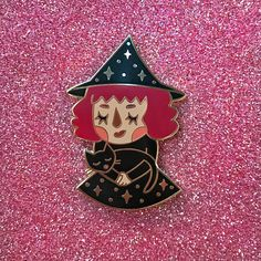 Little Witch Enamel Pin Red