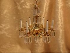 Dollhouse Doll House Miniature Crystal Chandelier Lamp | eBay