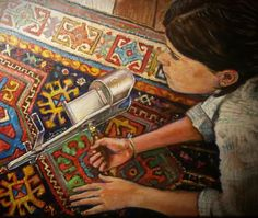 Celia with a #stereoscope lying on an ancient oriental #carpet. 1998
