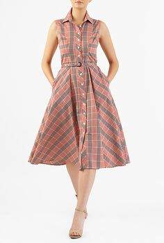 I <3 this Gingham check cotton belted A-line shirtdress from eShakti