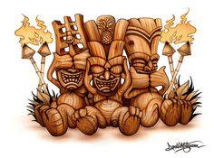 33 Tiki Art Poster Design Inspiration Samples for Your Den! Tiki Hawaii, Hawaiian Tiki, Omerta Tattoo, Tiki Maske, Tiki Tattoo, Tiki Head, Tiki Statues, Tiki Art, Tiki Tiki