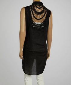 Love this Black Crochet-Back Sleeveless Button-Up Tunic by CLUB Z on #zulily! #zulilyfinds