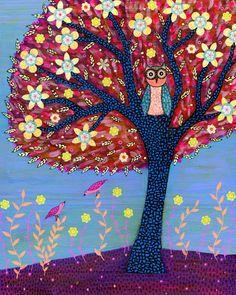 Children Decor Nursery Decor Autumn Owl Art Print por Sascalia