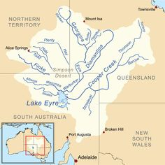 Map of the Lake Eyre Basin showing the major rivers that flow into the lake Australia Map, Visit Australia, Travel Advice, Travel Guide, Aboriginal Culture, Fun Facts, National Parks, Rivers, Places