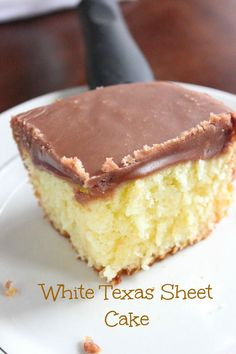 "White Texas Sheet cake big like the ""Heart of Texas"". Moist white cake topped with a rich and fudgey chocolate frosting."