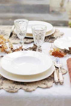 Autumn White Table Setting