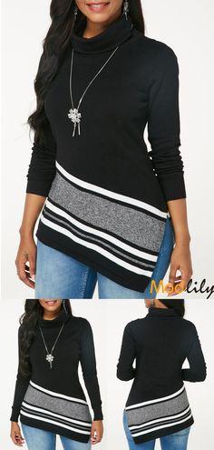 d5d9228ef3a Turtleneck Striped Side Slit Black Sweater On Sale At Modlily.