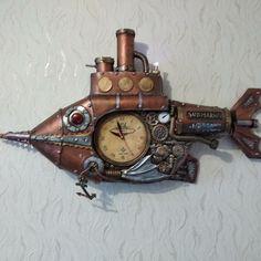 Steampunk Clock, Wood Watch, Fish, Steampunk Watch, Wooden Clock, Pisces