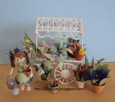 Quilled Flower Cart