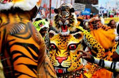 Puli kali is a famous art form of Kerala.It is performed at the fourth day of Onam. Artists colored in tiger prints will occupy the streets and will entertain people like a possession.