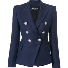 Balmain button-embellished blazer (137.515 RUB) ❤ liked on Polyvore featuring outerwear, jackets, blazers, blue, blue jackets, long sleeve jacket, tailored blazer, long blazer and one-button blazer