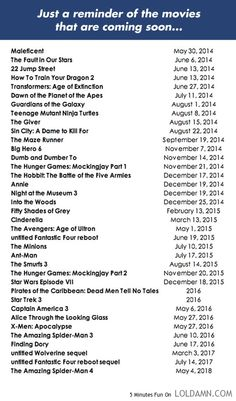 Just a reminder.. Can't wait for some/most of these movies!