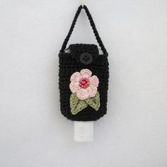 Crocheted Hand Sanitizer Holder/Cozy in Black w Pink by R0SEDEW
