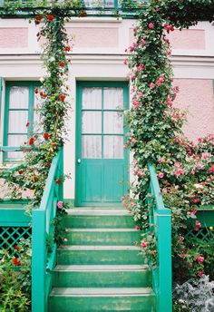Turquoise door blue home green roses garden turquoise steps door exterior Turquoise Door, Teal Door, Gazebos, Do It Yourself Design, Climbing Vines, Colorful Roses, Pink Flowers, Windows And Doors, Front Doors