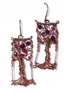 793a586f09d Items similar to Wire wrapped copper tree of life earrings