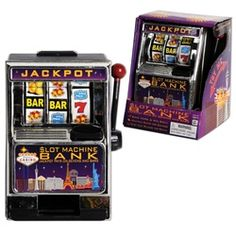 $6.00 Casino Slot Machine Bank 5 ¾ inch tall, approximately 4 inches wide.. Pull the real working handle and spin the reels Contains two (2) coin slots