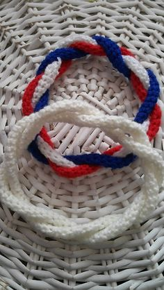 Ravelry: Patriotic July Red, white and blue, Independence Day Curly Wurly Headband pattern by Rosy Alice Crochet Crochet Bracelet Pattern, Crochet Headband Pattern, Easy Crochet Patterns, Bead Crochet, Crochet Crafts, Crochet Hooks, Crochet Projects, Crochet Ideas, Irish Crochet