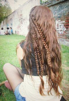 Layered lace braids, half up