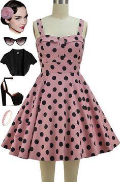 50s Style DUSTY ROSE PINK & Black POLKA DOT Bombshell PINUP Full Skirt Sun Dress #PrivateManufacturer #Sundress #Casual