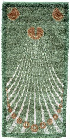 NUOREN TYTÖN RYIJY Eva Mannerheim-Sparre, 1900-luvun alku Rya Rug, Wool Rug, Art Nouveau, Scandinavian Embroidery, Latch Hook Rugs, Floor Cloth, Rug Hooking, Handmade Crafts, Textile Art