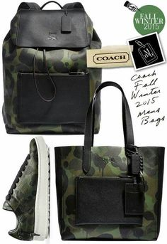 Cool stuffs Finally, some excitement for Coach... Coach Fall Winter 2015 Mens Bags and shoes are to keep a watch for... check out these Wild Beast Manhattan Backpacks, C101 sneakers and Tote, messenger bags with cool camouflage print... I want