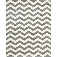 Grey White Chevron Rug