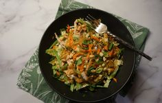 This is salad is packed with healthy veggies while delivering tons of flavor and crunchy textures. Perfect for a packed lunch or satisfying dinner. Asian Chicken Salads, Peanut Dressing, Healthy Eyes, Veggies, Lunch, Dinner, Kitchen, Recipes, Cucina