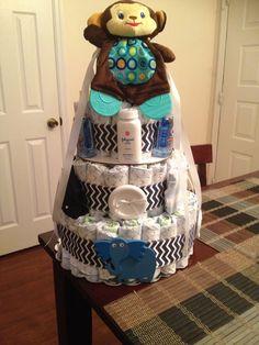 Diaper cake for baby boy!!
